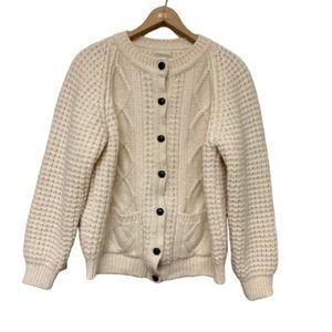Falcara Irish Wool Fisherman Cardigan Sweater XL